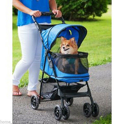 Pet Gear Stroller Dog Cat Happy Trails NO-ZIP up to 30 lbs. SAPPHIRE