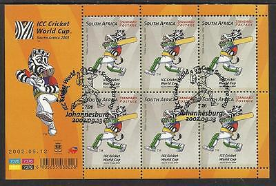 SOUTH AFRICA 2002 ICC CRICKET WORLD CUP Sheet No 1 Fine Used CTO Pictorial Pmk