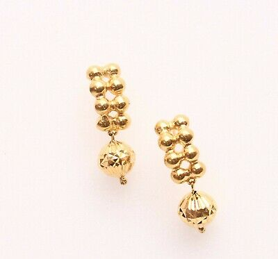 18k gold beads earring push and pull  #23