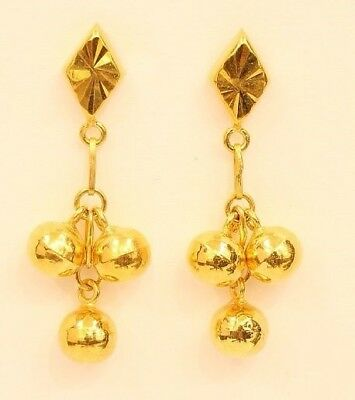 18k gold  beads earring from Thailand #25