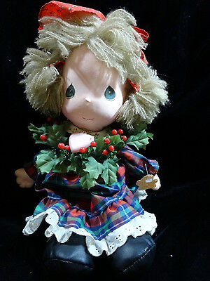 """Vtg 80s PRECIOUS MOMENTS Christmas NYLON FACE Doll by APPLAUSE 15"""" HOLLY Tags"""