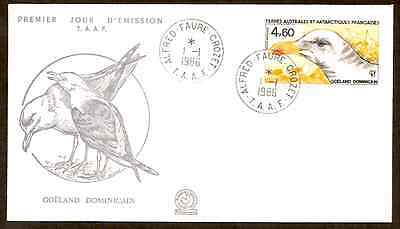 TAAF FRENCH ANTARCTIC 1986 SEABIRD 1v FDC