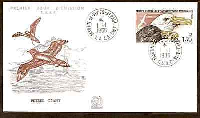 TAAF FRENCH ANTARCTIC 1986 GIANT PETREL BIRD 1v FDC