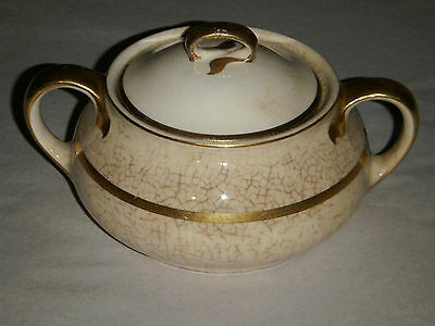 "VINTAGE W.S.GEORGE DERWOOD-6 104A LARGE 6.50"" SUGAR BOWL W HANDLES & COVER CRAZE"