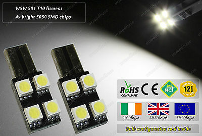 2x T10 LED 4 SMD W5W 501 White Wedge Car Under Door Dome Interior Bulbs Corsa