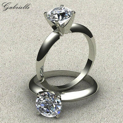 1 Ct Round Brilliant Cut 14K Solid White Gold Solitaire Engagement Ring