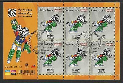 SOUTH AFRICA 2002 ICC CRICKET WORLD CUP Sheet No 6 Fine Used CTO Pictorial Pmk
