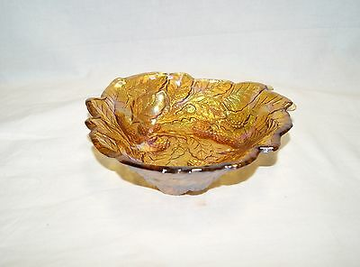 Vintage Carnival Glass Amber Iridescent 3-Sided Blackberry Candy Dish Bowl