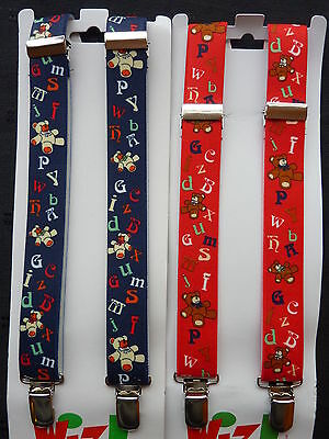 BRACES for BOYS/GIRLS/CHILDREN..NAVY OR RED / ALPHABET LETTERS approx. 1-6 yrs.