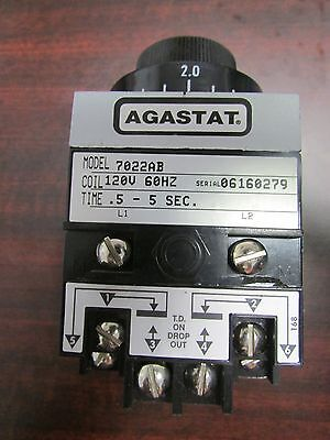 AGASTAT Time Delay Relay 7022AB .5-5second Tyco 1423162 2  120V