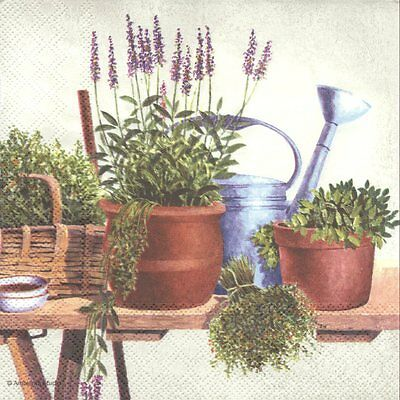 Lot de 2 Serviettes en papier Pots d'Herbes Lavande Decoupage Collage Decopatch