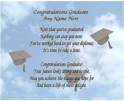 Congratualations Graduate Personalized Art Poem Memory Graduation Gift