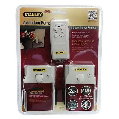 STANLEY - 2 PACK - Indoor Remote Control Twin Outlet