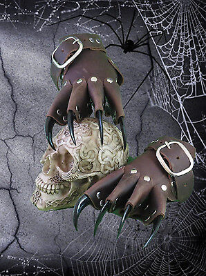 Brown Dragon Leather Claw Gauntlets/Gloves Gothic BDSM