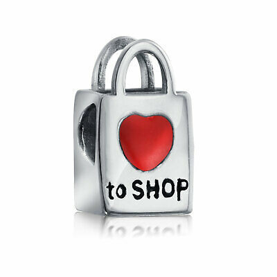 Bling Jewelry I Heart Shopping Love to Shop Charm 925 Sterling Silver Bag Bead