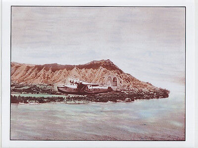 "CLASSIC FLYING BOAT OVER WAIKIKI BEACH 1935 ON 8.5""x11"" UNMOUNTED GICLEE PRINT"