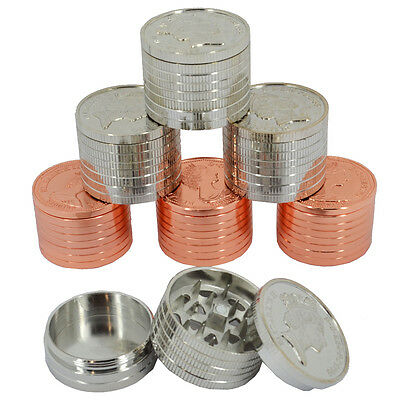 New Coin Shaped Metal Tobacco 3 Part 40mm Herb Grinder : Bronze & Silver
