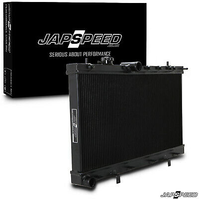 Japspeed Black Alloy Cooling Radiator Rad For Subaru Impreza Gd Wrx Sti 03-06