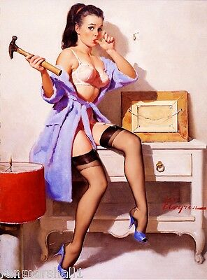 1940s Pin-Up Girl Ouch, I smashed my Thumb! Picture Poster Print Art Pin Up