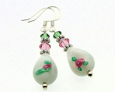 White CZECH LAMPWORK Glass Drop Earrings with Crystals Silver Plated - E039