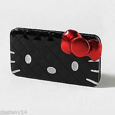 Hello Kitty by Sanrio Fancy Patent Black Hardcase Wallet 3D Red Bow