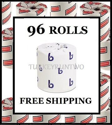Wholesale Case of 96 Rolls Bathroom Tissue Toilet Paper White 2 Ply 500 Sheets
