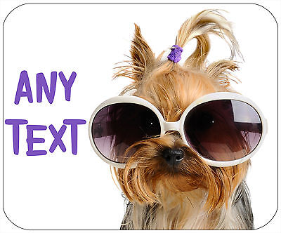 Mouse Pad Custom Thick Dog Mousepad - Yorkie With Sunglasses - Add Any Text Free