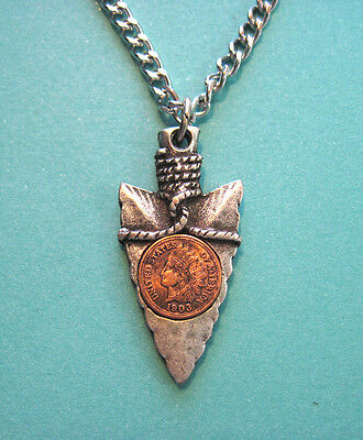 Arrowhead necklace with mini coin inset