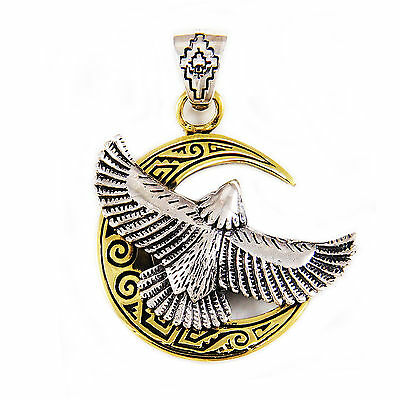 EAGLE ON CRESCENT MOON 925 STERLING SILVER FREEDOM WINGS BIKER PENDANT gb-096