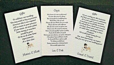 Wedding Poem Cards requesting money/cheques for your invitations Choice of 3
