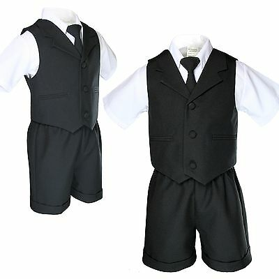 Baby Boy Toddler Wedding Formal Necktie Black Shorts Vest Set Eton Suit S - 4T