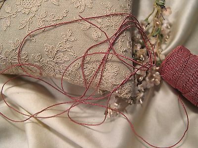 Vintage Tiny Vine Cord~Antique Rose~Dolls Millinery Ribbonwork Quilt *