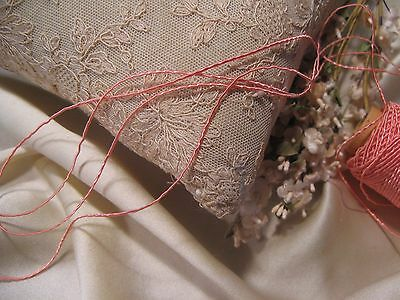 VINTAGE TINY VINE CORD~PINK CORAL~DOLLS EMBROIDERY MILLINERY CRAFT QUILT 2 yds *