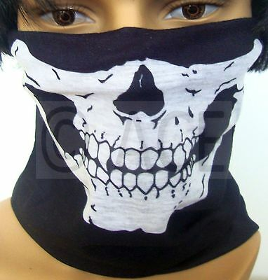 Skull Head Face Mask Neck Multi-wear Tube Bandana Durag Scarf Head Wrap
