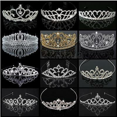 Tiara Silver Wedding Bridal Bridesmaid Prom Pregnant Clear Crystal Rhinestone