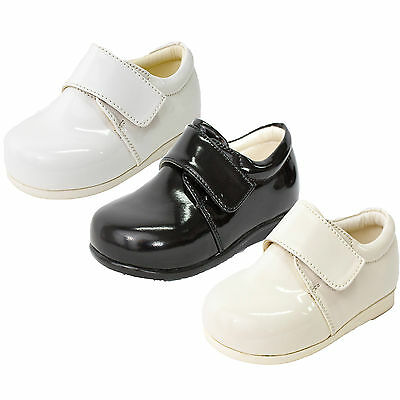 Baby Boys Patent Shoes Black Cream White Formal Smart Wedding