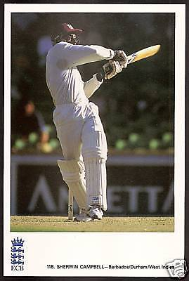 SHERWIN CAMPBELL (West Indies) OFFICIAL ECB CRICKET POSTCARD No 118