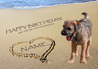PERSONALISED BORDER TERRIER DOG VALENTINE MOTHERS DAY BIRTHDAY etc CARD + insert