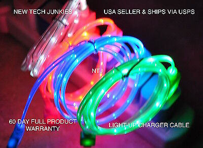 led light-up data charger power charge cable for iphone X 7 6 4 5s micro usb s7