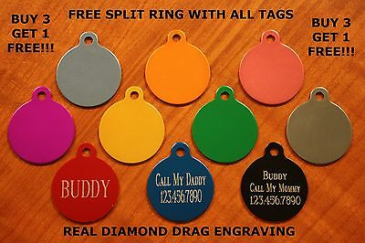 "Custom Engraved DOUBLE SIDED Tag Pet ID  CIRCLE  DOG CAT ""PREMIUM QUALITY"""