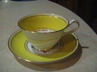 Grosvenor China Yellow & Floral Cup & Saucer With Gold