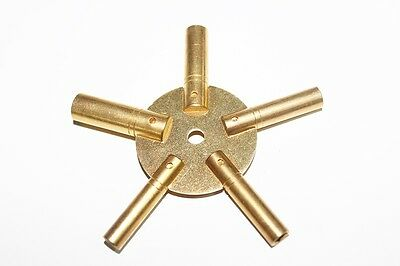 Brass Universial Clock Key for Winding Clocks 5 Prong ODD Numbers