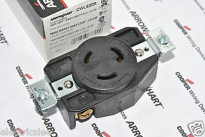 1pcs-COOPER CWL620R NEMA L6-20R 20A 250V Twist Hart-Lock Locking Receptacle