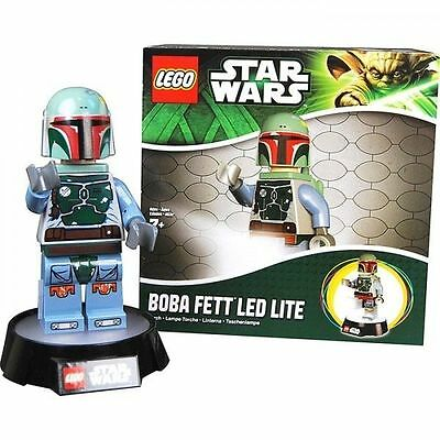 "Star Wars Boba Fett 8"" Figure on Base LED LITE Torch Lamp 2013 LEGO NEW UNUSED"