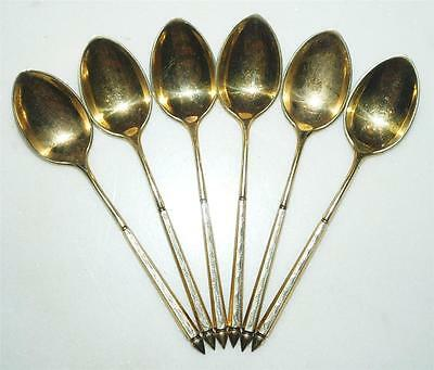 Lot Of Six Vintage Gold Wash 925 Sterling Silver 4 In European Coffee Spoon ~110