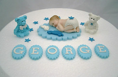 Personalised edible baby blue Christening cake topper Baby shower decoration