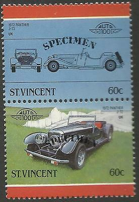 ST VINCENT 1986 CARS UK 1972 PANTHER J-72 SPECIMEN Overprint PAIR MNH