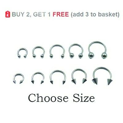 Horseshoe Bar Circular Barbell Ring Hoop Lip Eyebrow Nose Septum Ear 14g 1.6mm
