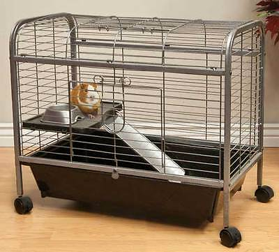 LIVING ROOM SERIES QUALITY TWO LEVEL GUINEA PIG INDOOR HUTCH CAGE WITH FOOD DISH