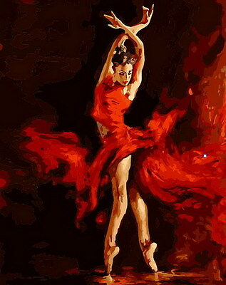 """New Acrylic Paint By Numbers 16x20"""" kit Painting On Canvas DIY PBN Dance Fire"""